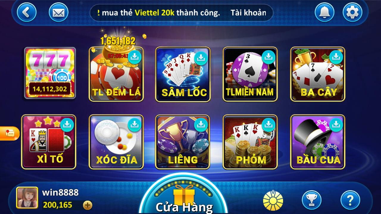Một số tựa game có trên Win888 Club