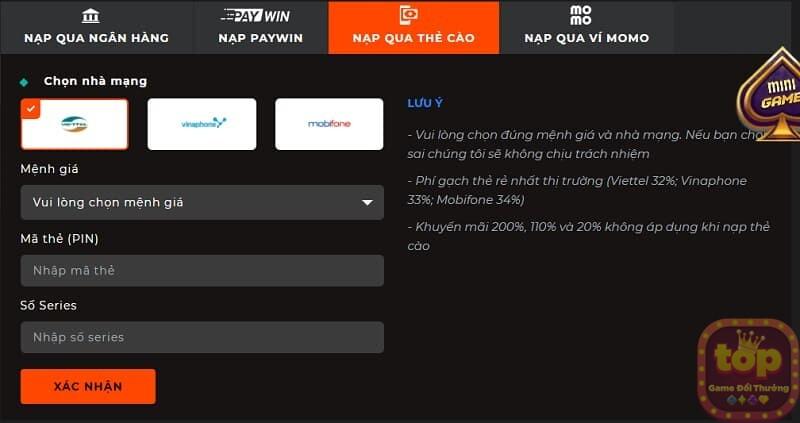 Nạp tiền qua thẻ cào - Link SV88 đăng ký