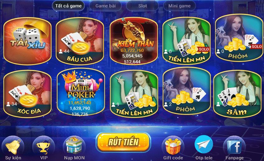 Một số trò chơi có trên Mon79 club