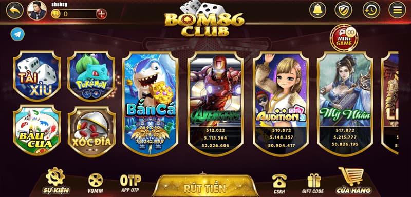 Giao diện cổng Bom86 Club