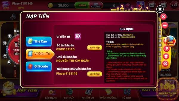 Hướng dẫn nạp tiền tại Bắn cá king club | tải ban ca king ios, android, pc 2021