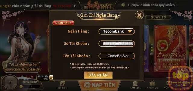 hướng dẫn nạp tiền vào tài khoản luckywin club