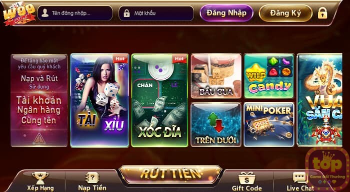 giao diện cổng game w99 club