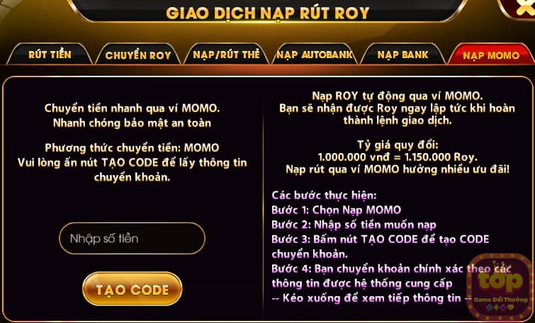 Nạp tiền Roy79 Club qua momo