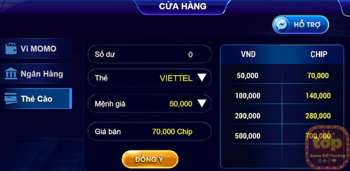 Six66 club đổi thưởng qua thẻ cào