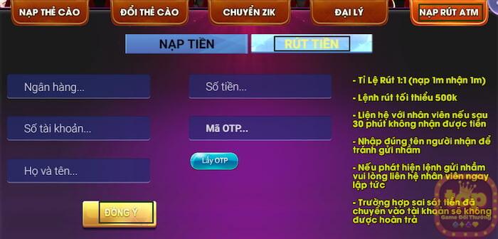 Rút tiền thưởng Bay99 Club  ZikVip Club qua ngân hàng